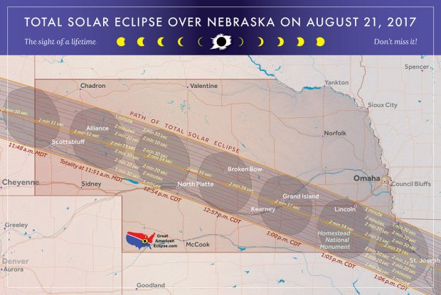 Nebraska map of total eclipse