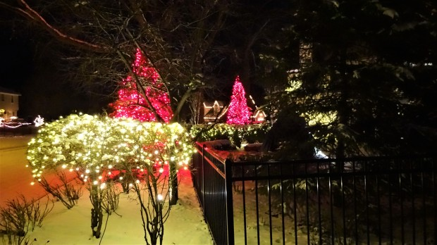 Lights from a white Christmas
