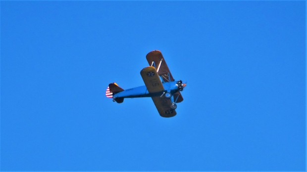Blue and yellow biplane 1942